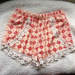 Floral Shorts with Crocheted Lining